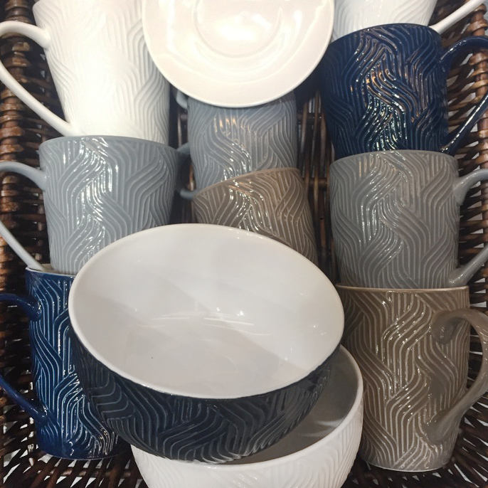 Coffee mugs embossed