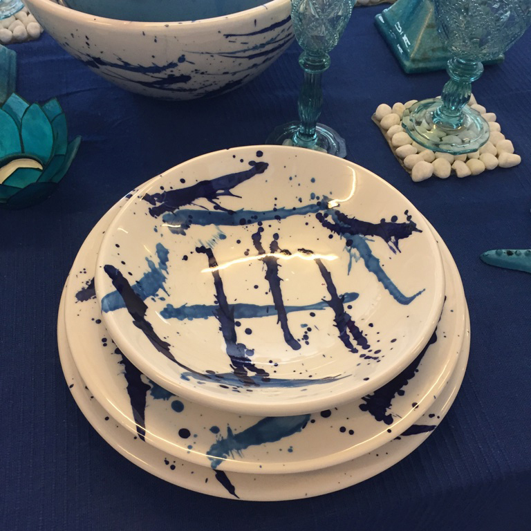 decorated stoneware plates